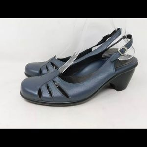 Dansko Blue Closed Toe Slingback Heeled Clogs 37